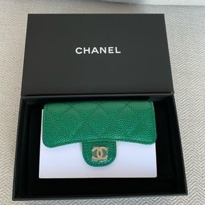 Authentic Chanel 18S Emerald Green Card Holder